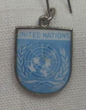Vintage REU Silver Plated/Enamel United Nations Flag Bracelet Charm - NOS