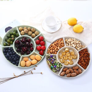 1pcs  6-Compartment Food Storage Tray Dried Fruit Snack Plate Appetizer Serving
