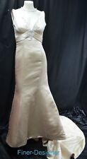 DEMETRIOS BEADED TRUMPET Wedding bridal dress champagne satin sleeveless 10 NEW