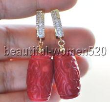 Z9120 Handmade Carve 13mm Natural Red Cylinder Coral Dangle Earring CZ