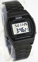 Casio B-640WB-1A Unisex Black Watch Digital Stainless Steel Band Flash Alert New