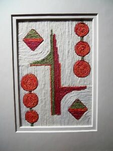 Fiber Art Collage, Untitled, Fine Art Wall Hanging, White/Orange/Red/Green OOAK