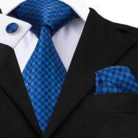 Classic Blue Mens Tie 100% Silk Necktie Palids Checks Tie Set For Business C-561