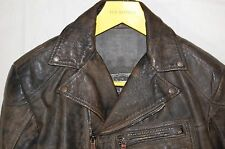SUPER GORGEOUS !!! DIESEL MEN AGED LEATHER BIKER JACKET SIZE M-L .MADE IN ITALY