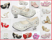 GIRLS CHILDRENS KIDS PARTY SHOES SANDALS DIAMANTE WEDDING LOW HEEL NEW SIZE 7-3