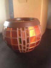Partylite Harvest Lights Fall Orange Amber Mosaic tealight holder Nib