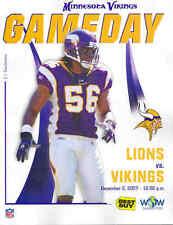 Minnesota Vikings Detroit Lions Game Program 12/2/2007...E.J. Henderson on Cover