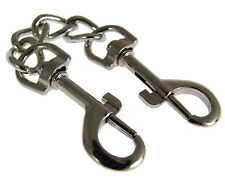 SILVER METAL CHAINED DOUBLE BONDAGE CLIPS FETISH HANDCUFFS RESTRAINTS 6 INCH