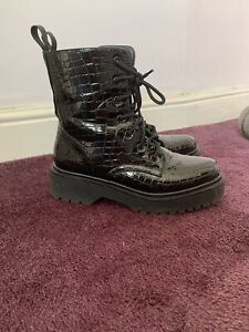 Size 5 Patent Black Chunky Boots Worn A Few Times
