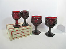 Wine Cordials Goblets Ruby Red Glass Avon Cape Cod Vintage 1980s Set of 4 Box
