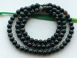 """5.5mm Certified Natural 20""""unique Black green Jadeite Beads Beaded necklace 7575"""