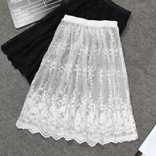 Lace A-line Skirt Perspective Half Skirt Medium Length Bottomed Long Skirt Petti