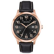 Bulova Men's Quartz Rose Gold Tone Case Black Leather Strap 42mm Watch 97B164