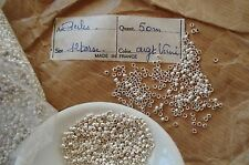 LOT ANTIQUE VTG FRENCH TINY SILVER METAL STAMPED SEED BEADS PARTS PURSE JEWELRY