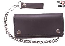 MEN'S MOTORCYCLE BROWN BIKER BIFOLD LEATHER SILVER CHAIN WALLET NEW WITH POCKETS