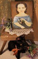 SWEET FOLK ART VICTORIAN VINTAGE STYLE GIRL FLOWER BASKET PORTRAIT CANVAS