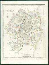 1845 IRELAND - Original Antique Map of WICKLOW by Lewis with outline colour