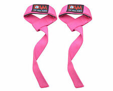 DAM Weight Lifting Strap Made of Cotton, Neoprene Padded Pink