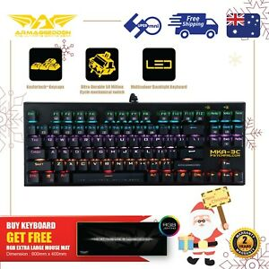 Gaming Keyboard Blue Switch Mechanical MultiColor get Free RGB XL-Mousemat