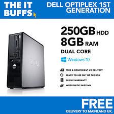 Windows 10 Escritorio Pc Ordenador Dell Optiplex Dual Core 8gb RAM 250gb Hdd