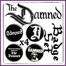 THE DAMNED - Dave Vanian Captain Sensible New Rose Punk Rock Badge Set x4