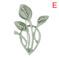 Green Pearl Fern Vanilla Leaf Brooch Pin Collar Decor Badge Corsage Jewelry HU