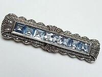 Art Deco Brosche 30er Jahre - 835 Silber punz. 8 Blautopas Carrè s / A485