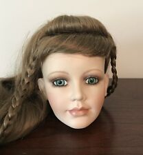 """William Tung Porcelain 5"""" Doll Head Only - Brunette Green Eyes NEW OLD STOCK"""