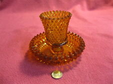 Vintage Amber Glass Votive Holder Retro Sconce Diamond Hobnail with Base