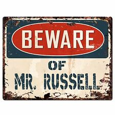 PP2206 Beware of MR. RUSSELL Plate Chic Sign Home Store Wall Decor Funny Gift