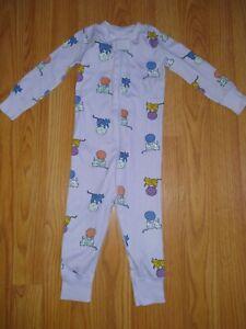 Hanna Andersson 80 18-24 Purple Cats Tiger Baby Zip Sleeper PJ Organic Cotton