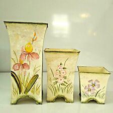 Planter Flower Pot Metal Set of 3 Floral Design Colorful Off White Green Border