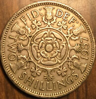 1957 GREAT BRITAIN FLORIN TWO SHILLINGS COIN