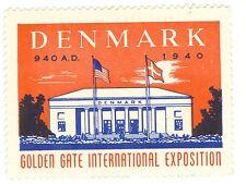 Unused Denmark 1940 San Francisco Golden Gate Inter Expo GGIE Decal