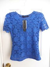 BRAND NEW WOMEN'S TOP BY ZANZEA SIZE 6 LINED BLUE FLOWER LACED SHORT SLEEVES