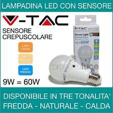 V-TAC LAMPADA LAMPADINA LED SENSORE CREPUSCOLARE 9W AUTOMATICA E27 LUMINOSA