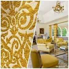 New! Burnout Swirl Retro Pattern Chenille Fabric Upholstery Mustard Yellow