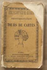 Tours de Cartes Prestidigitation Encyclopédie Roret R BARBAUD éd Mulo 1910