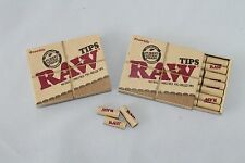 2 RAW PRE ROLLED Natural Cigarette Filter Paper Tips Boxes~42 Tips Total~