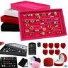 Fashion Velvet Jewelry Ring Earring Display Box Storage Showcase Case Organizer