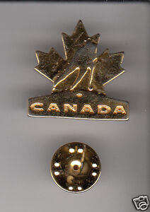 TEAM CANADA Hockey Logo GOLD-COLOURED METAL HAT LAPEL PIN Men's Women's NICE!