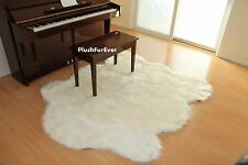 "60"" x 72"" White Sheepskin Rug Faux Fur Area Rugs Lodge Cabin Accents nursery"