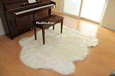 "60"" x 72"" White Sheepskin Rug Faux Fur Area Rugs Lodge Cabin Accents nursery"
