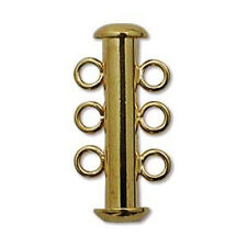 EIGHT (8) Beadsmith Gold-Plated Slide Lock Tube Clasps - THREE STRAND