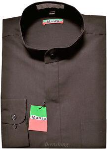 New men's shirt banded nehru collar dress formal party prom wedding dark gray