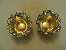 GORGEOUS PAIR ANTIQUE TOWLE STERLING SILVER NUT DISHES with GOLD WASHED INTERIOR
