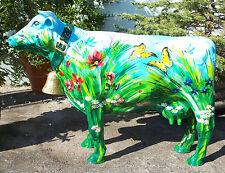 KUH mit GLOCKE KUNSTBEMALUNG SOMMERWIESE fast lebensgroß Garten Deko Tier Figur
