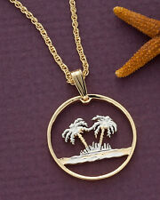 "Palm Trees Pendant & Necklace Oman Coin Hand Cut 7/8"" diameter, ( # 582 )"