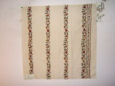 """Lee Jofa  """"Zoe Embroidered Stripe"""", floral fabric remnant, color currant"""
