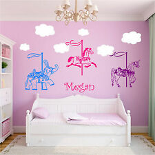 Carousels & Personalized Name Wall Stickers Horse Elephant Unicorn Carousel
